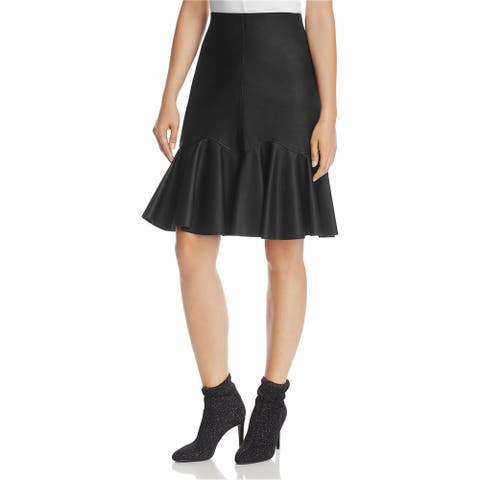 Rebecca Taylor Womens Faux-Leather A-line Skirt, Black, 2