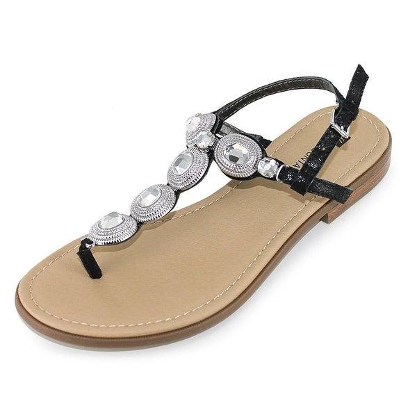 White Mountain Womens Glow Split Toe Casual T-Strap Sandals