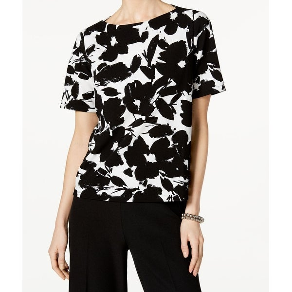 ff7770fc451e22 Shop Kasper NEW Black White Women Size Medium M Floral-Print Boat-Neck  Blouse - Free Shipping On Orders Over $45 - Overstock - 21855580