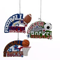 "3.5"" Red, White and Blue Football Rocks Sports Christmas Ornament"