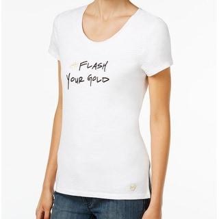 Michael Kors NEW White Flash Your Gold Print Women's XL Graphic T-Shirt