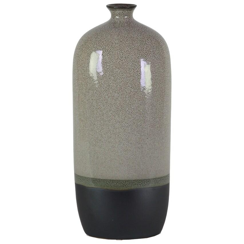 Stoneware Bottle Vase With Black Banded Rim Bottom, Large, Glossy Gray