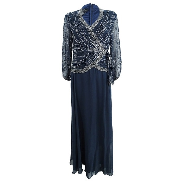 e692a73652c69 Shop J Kara Beaded Women's Faux-Wrap Gown (12, Navy) - Navy - 12 - Free  Shipping Today - Overstock - 26932755