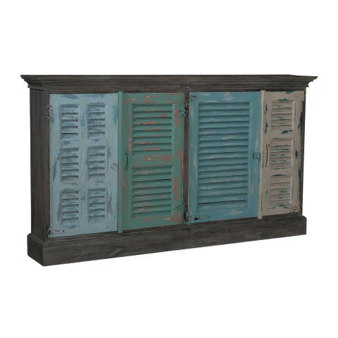 """72"""" Blue and Gray Hand Painted 4-door Credenza with 2 Shelves"""