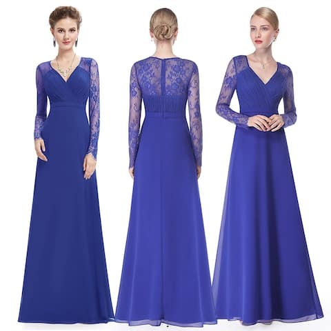 92b1817d6be Ever-Pretty Women s Elegant V-neck Long Sleeve Evening Party Dress 08692