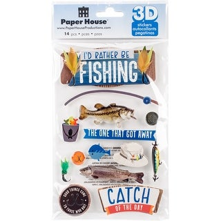 Paper House Dimensional Multi-Level Sticker-I'd Rather Be Fishing