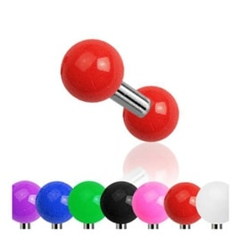 "Surgical Steel Tragus/Cartilage Barbell with Solid Color UV 4 mm Ball - 16GA 1/4"" Long (Sold Ind.)"