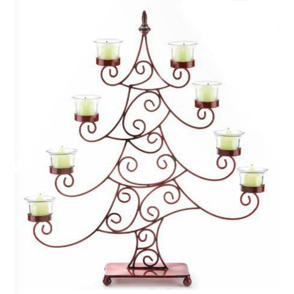 """21.5"""" Decorative Red Whimsical Christmas Tree Votive Candle Holder. Opens flyout."""