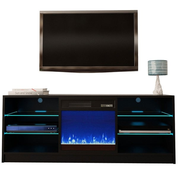 "Manhattan Electric Fireplace Modern 58"" TV Stand. Opens flyout."