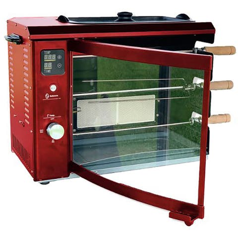Brazilian Flame Brazilian Gas Rotisserie Grill with 3 Skewers, Red