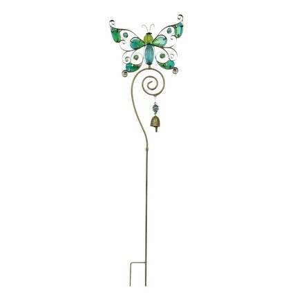 Colorful Glass Butterfly Decorative Metal Garden Yard Stake - 36.5 X 10.25 X 1.25 inches