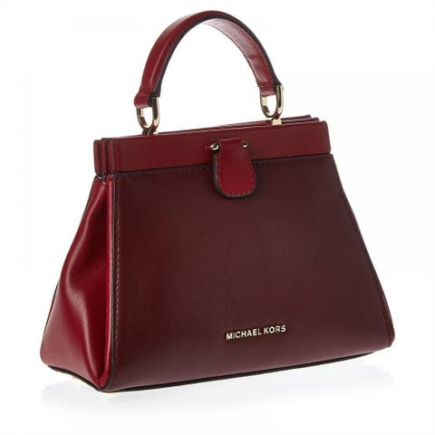 80703204ca43 MICHAEL Michael Kors Gramercy Frame Small Leather Satchel - Oxblood/Soft  Pink/Maroon