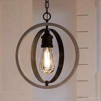 "Luxury Vintage Pendant Light, 14""H x 12""W, with Modern Farmhouse Style, Charcoal  Finish by Urban Ambiance"