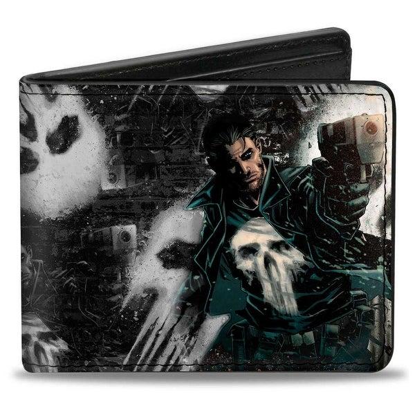 Marvel Universe The Punisher Shooting Pose Skulls Black Grays Bi Fold Wallet - One Size Fits most