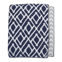 Lambs & Ivy Jensen Collection Navy Blue/Gray Geometric Reversible Coverlet Nursery Quilt