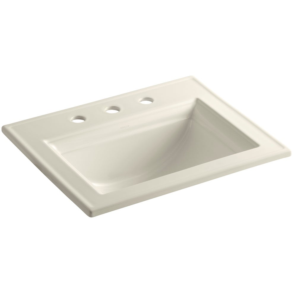 Kohler K-2337-8  Memoirs Stately 17 Drop In Bathroom Sink with 3 Holes Drilled and Overflow (cashmere)