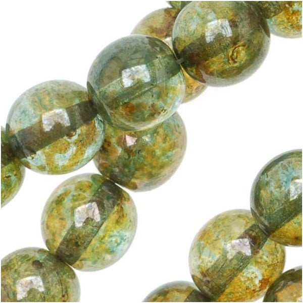 Czech Glass Druk Round Beads 8mm Olivine Gold Luster (25)