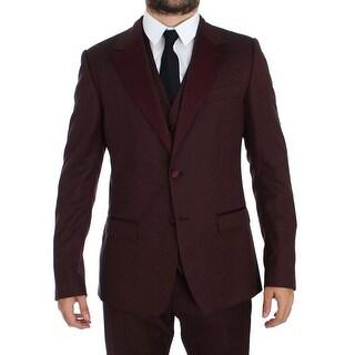 Dolce & Gabbana Dolce & Gabbana Bordeaux 3 Piece Slim Fit Suit Tuxedo - it50-l