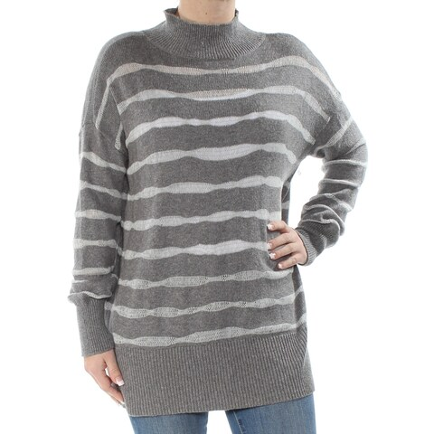 VINCE CAMUTO Womens Gray Striped Long Sleeve Turtle Neck Sweater Size: S