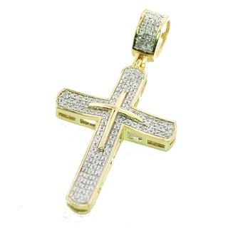 10K Gold Cross Charm Mens Diamond Pendant 1/4ctw Pave Set 38mm Tall (i2/i3, j/k) By MidwestJewellery - White