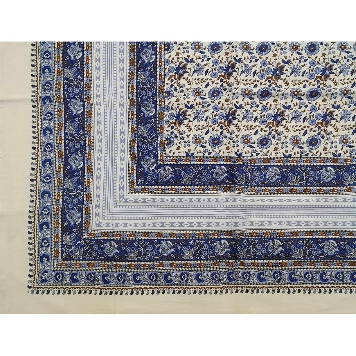 Handmade 100% Cotton Floral Tapestry Throw Tablecloth Bedspread Blue in Twin 70x106 & Full 88x106 Beach Sheet Dorm Decor - Thumbnail 0
