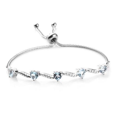 Shop LC Platinum Skyblue Topaz Bolo Elegant Bracelet ctw 2.5