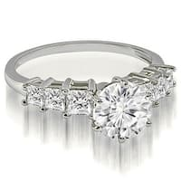 1.50 cttw. 14K White Gold Round and Princess cut Diamond Engagement Ring