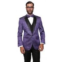 BELLAGIO Men's 3pc Purple Suit, Modern Fit, 2 Button, 2 Side Vent, solid black Flat Front Pants