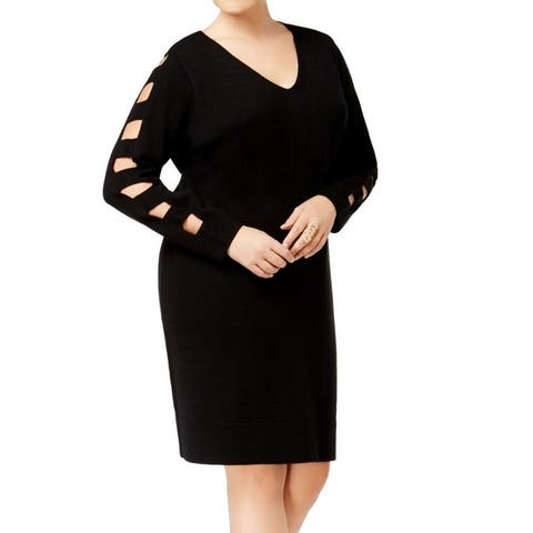 Love Scarlett Women's Sweater Dress Black Size 2X Plus Cutout Sleeve