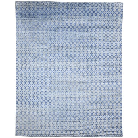One of a Kind Hand-Knotted Modern 8' x 10' Trellis Wool Blue Rug - 8' x 10'