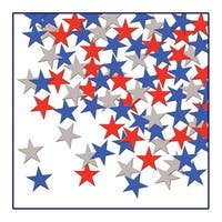 Club Pack of 12 Patriotic Red, Silver and Blue Fanci-Fetti Star Celebration Confetti Bags 1 oz.