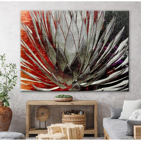 Rustic Agave Floral Nature Gallery Wrapped Canvas by Norman Wyatt Home