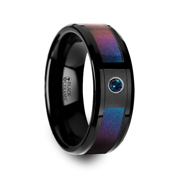 KLEIN Black Ceramic Ring with Blue & Purple Color Changing Inlay and Alexandrite Setting 8mm
