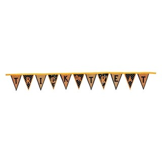 """11.5' Polka Dot and Floral """"Trick or Treat"""" Banner Flag Halloween Garland Decorations - Brown"""