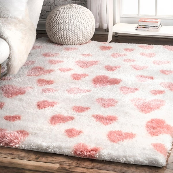 nuLOOM Pink Soft and Plush Modern Valentine Heart Shaped Shag Rug. Opens flyout.
