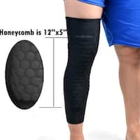 Image 1PCS Size L Basketball Knee Pads Long Leg Sleeves Honeycomb Crashproof Black