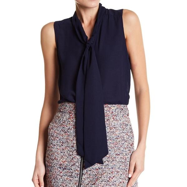 Parker Solid Women's Large Neck Tie Tank Blouse