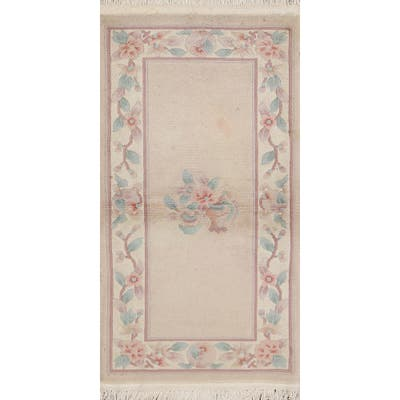 """Clearance Art Deco Chinese Wool Runner Rug Hand-knotted Hallway Carpet - 2'4"""" x 4'9"""""""
