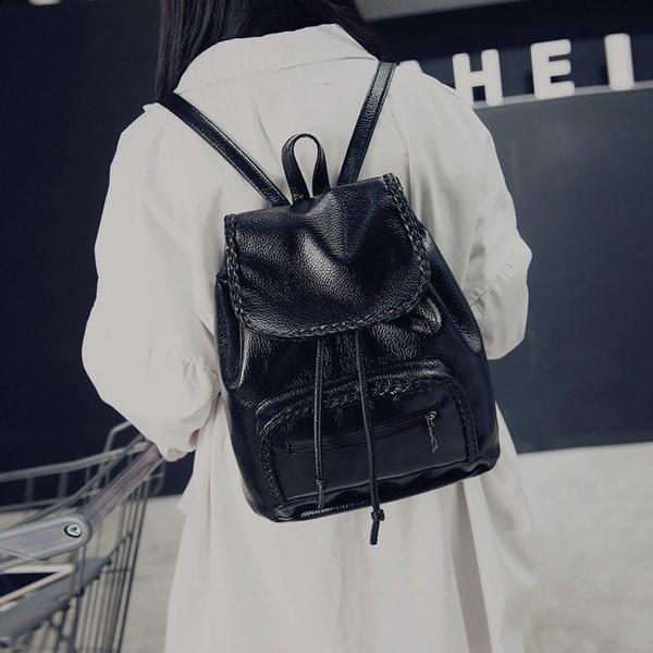 b2bdedc9b84fc1 Girl Leather School Bag Travel Backpack Satchel Women Shoulder Rucksack  Black