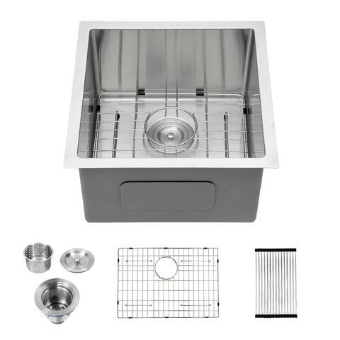 Undermount Bar Prep Kitchen Sink 16 Gauge Deep Single Bowl
