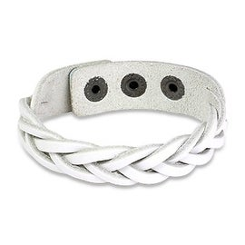 White Braided Leather Snap Bracelet (Sold Ind.) (16 mm) - 7.75 in