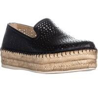 Franco Sarto Elliot Platform Espadrilles Slip On Sneakers, Black Leather