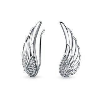 Guardian Angel Wing Feather Ear Pin Climbers Earrings For Women Round Cubic Zirconia Pave CZ Crawler 925 Sterling Silver