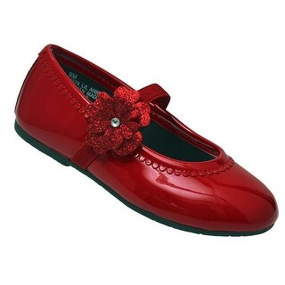 Little Girls Red Patent Glitter Flower Elastic Strap Casual Shoes