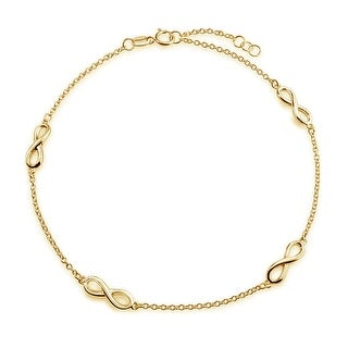 Bling Jewelry Gold Plated 925 Silver Figure 8 Infinity Link Anklet 10in