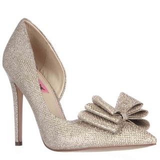 Betsey Johnson Prince Dorsay Bow Toe Pumps - Gold