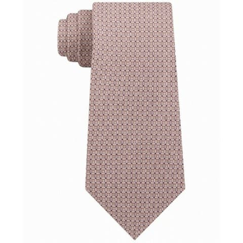 Michael Kors Men's Classic Geo Cube Silk Twill Tie Brown One Size - One Size