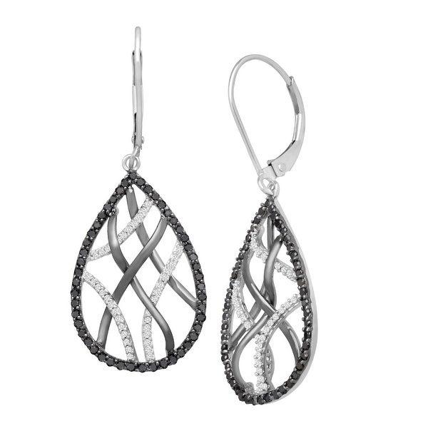 3/4 ct Black & White Diamond Webbed Drop Earrings in 14K White Gold