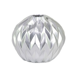 Urban Trends Ceramic Round Low Vase with Round Lip and Embossed Wave Design Matte Finish Silver