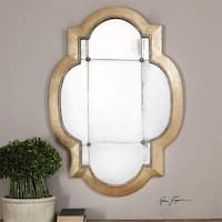 "41"" Stretched Quatrefoil Gold Leaf Antiqued Mirror with Gold Rosette Accents"